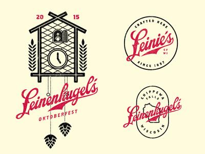 Leinenkugels wisconsin clock overprint beer brewing craft badge lockup leinies german oktoberfest