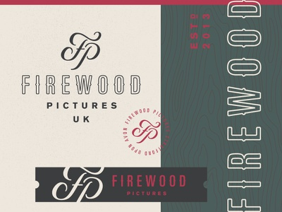 Firewood Pictures rustic identity firewood woodgrain wood lockup logo monogram video