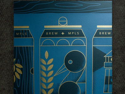 Posters & Pints Full Poster loon posters and pints wood hops lighthouse minneapolis minnesota bird illustration poster brewing beer