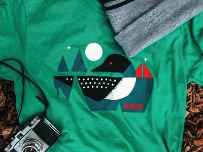 Loon Calling camping bwca minnesota moon stars geometric illustration loon nature