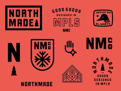 Northmade Co. No. 2 hand loon bird minnesota north shield crest tree badge lockup logo branding
