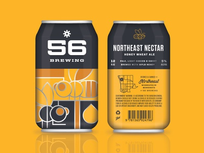 Northeast Nectar Honey Wheat Ale brewery minneapolis honey bee monoweight packaging can illustration brewing beer