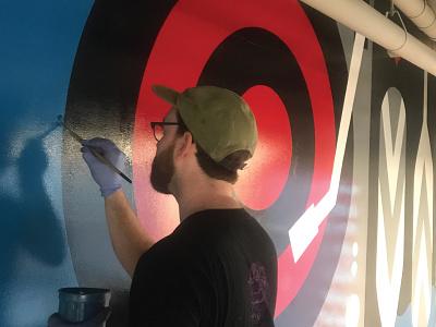 PMS 186 C minnesota minneapolis record paddles target illustration sign painting mural