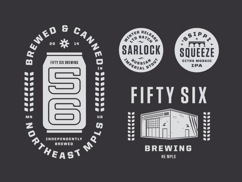 55 + 1 = Beer? minneapolis typography type building illustration badge lockup logo brewery beer