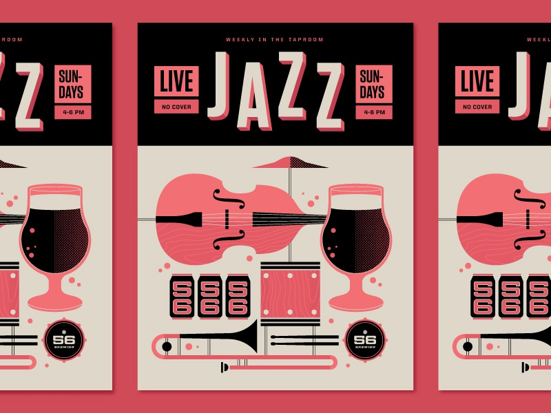So Jazzy music gig poster brewery brewing beer bass instrument jazz typography illustration poster