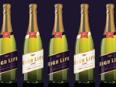 The Beer of Champagnes bottle packaging brewery luxury premium drinks champagne high life miller beer
