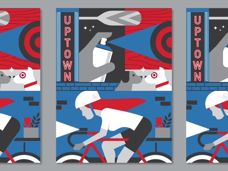 Target Posters woodgrain paddle printmaking spray paint dog bike minneapolis target illustration poster
