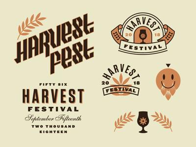 So Harvesty oktoberfest type blackletter hops fall beer brewery icon lockup badge festival harvest