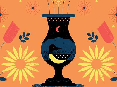 Posters for Parks 2018 lake night moon bird vector illustration boquet vase flower minnesota loon