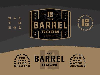 The room where you put barrels typography venue music beer brewery minneapolis type lockup badge barrel logo branding