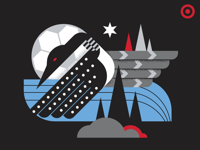 Minnesota United FC x Target star tshirt bird illustration geometric loon futbol stadium united minnesota mls soccer