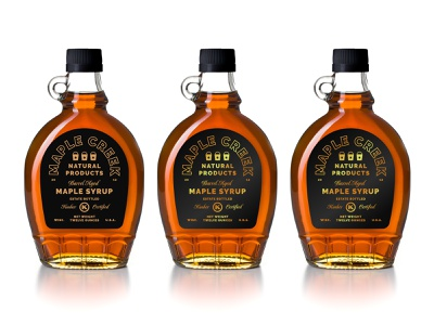 Syrup + Barrels gold premium aged barrel wisconsin maple syrup typography lockup badge logo branding packaging