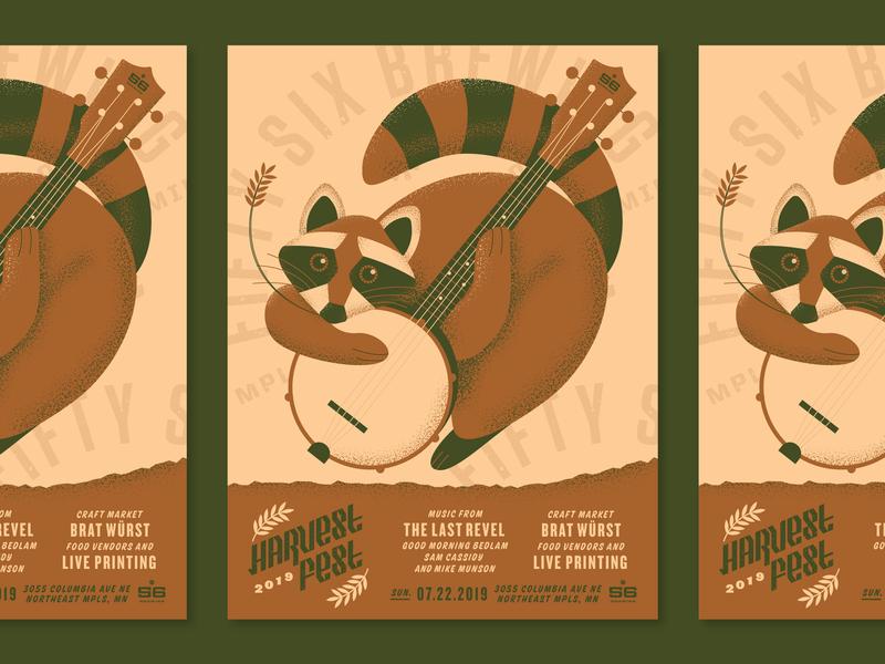 Felt cute, might harvest later. bluegrass folk banjo texture vector illustration raccoon type lockup festival harvest fall