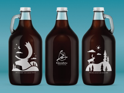 Caribou Coffee Packaging No. 3 branding minnesota adventure coffee caribou north vector illustration packaging growler