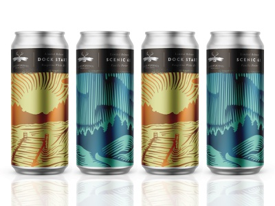 Lakes & Legends Limited Releases woodcut packaging design engraving north aurora northern lights can beer brewery minnesota vector illustration packaging