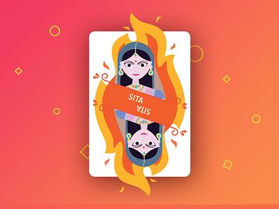 Sita Card shape color fire illustration character ramayana sita card playing card