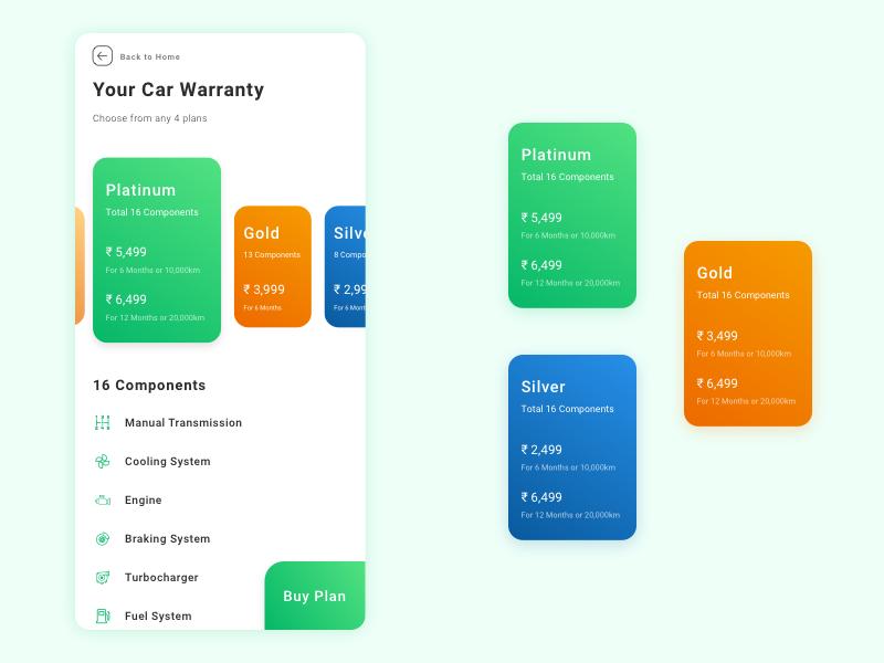 Warranty Plans buy premimum plan mobile engine components car warranty plan cards card ui