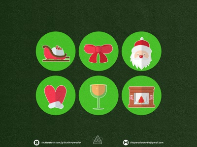Christmas is NEAR! Christmas Icons Set Preview - Part 6 design graphicdesign vector set happy snowflake cild holiday marrychristmas banner cad santa gift cute colorful green icon character icons