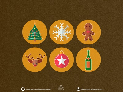 Christmas is NEAR! Christmas Icons Set Preview - Part 7 design graphicdesign vector set happy snowflake cild holiday marrychristmas banner cad santa gift cute colorful green icon character icons