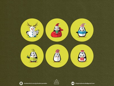 Christmas is NEAR! Christmas Icons Set Preview - Part 14 design graphicdesign vector set happy snowflake cild holiday marrychristmas banner cad santa gift cute colorful green icon character icons