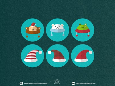 Christmas is NEAR! Christmas Icons Set Preview - Part 20 art cartoon illustration happy snowflake cold holiday marrychristmas banner card santa gift cute colorful green red icon characters icons chrismast
