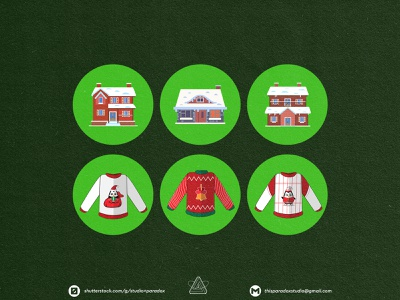 Christmas is NEAR! Christmas Icons Set Preview - Part 28 vector art cartoon illustration happy snowflake holiday marrychristmas banner card santa gift cute colorful green red icon characters icons chrismast