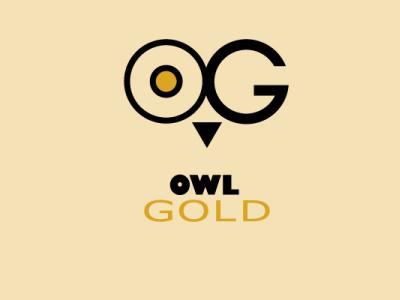 owl gold typography branding logo