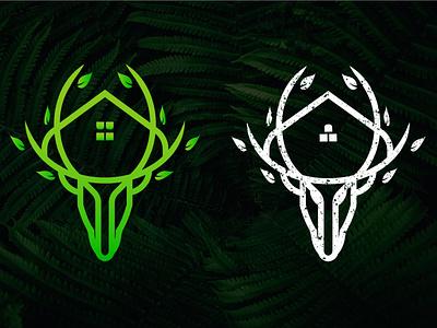 house and deer logo branding minimal design logo