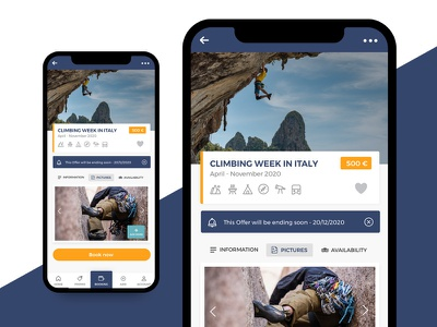 travel app ionic android ux ui climbing app travel