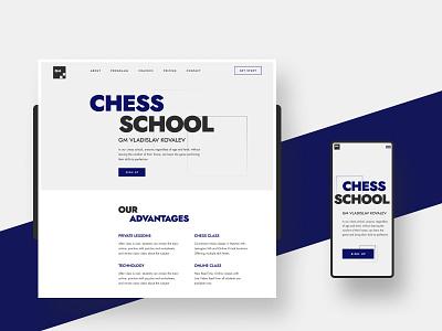 Redesign of the chess school landingpage ux ui flat uidesign typography uiux design minimalism tilda school chess