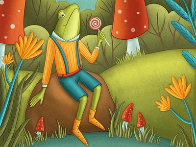 Mr frog illustration artwork book illustration children book illustration digital illustration kids illustration character design character development character children illustration