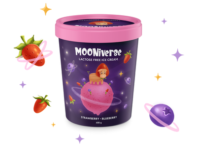 MOONivrese. Ice creame packaging illustration packaging illustration illustratiom artwork procreate animals ice cream package ice cream food package packaging package character design character development character children illustration