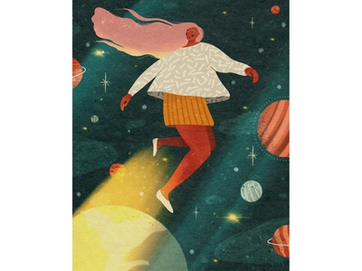 Girl in space shape texture procreate girl 2d illustrator characterdesign flat illustraion digital illustration digitalart art