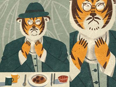 Tiger in a suit characterdesign character texture shape procreate illustrator 2d design illustraion flat digital illustration digitalart art