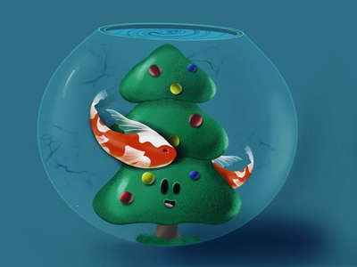 Christmas for the fishes art holiday colour water fish christmas tree illustration digital drawing