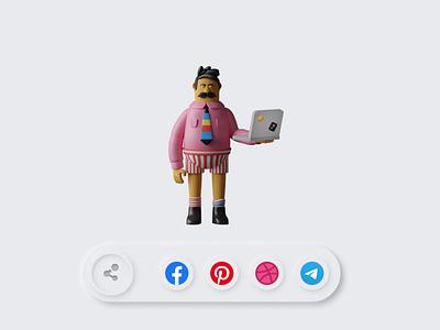 Daily UI #10: Social Share minimal illustrator illustration socialmedia social art flat dailyui app web ux ui