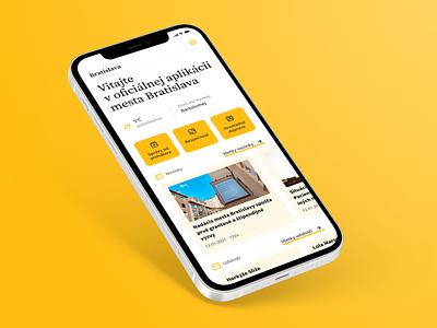 City app dashboard bratislava yellow application app city