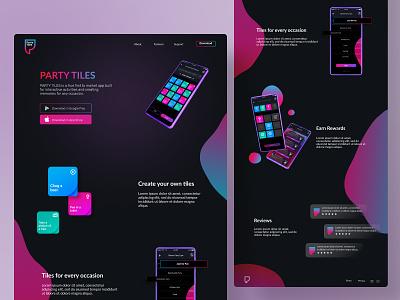 Party Tiles - Desktop version dark inspiration clean landing page gradient task website features desktop webdesign interface dark ui dark version interation tech futuristic organization app ux ui