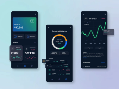 Cryptocurrency App colors dark version portfolio wallet bitcoin cryptocurrency crypto app design ux ui