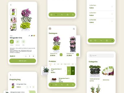 Plant Store App concept green flowershop houseplant pots farming nature plant store plant shop plant garden ecommerce business ux ui