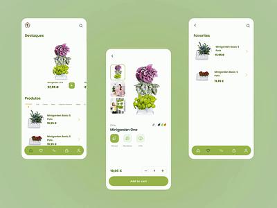 Plant Shop App garden homegarden farm animation green homepage product page shopping cart product app shop vase nature plant design ux ui