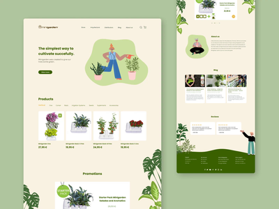 Plant Store Website leafs homepage landing page site planet sustainable green nature farming plant website design ux ui