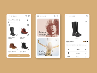 Shoe store - Mobile Version gold collection mobile e-commerce clean boots shoes app design ux ui