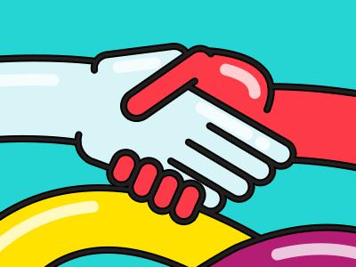 Nudo screensaver colorful playful fun illustration color hands hand