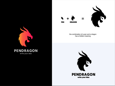 Pendragon Logo graphic design illustrator flat app typography vector branding logo illustration design
