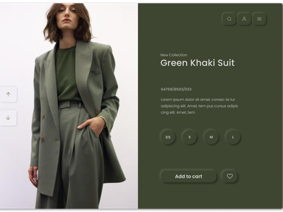 Neumorphic Clothing Page uidesign fashion website fashion design khaki neumorphic design neumorphism ui neumorphic typography website minimal web illustration ui design