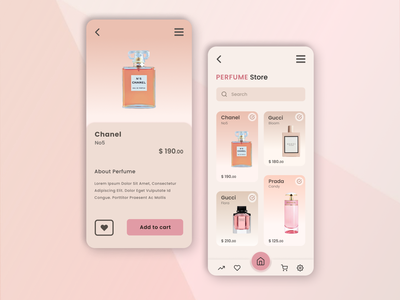 Perfume Store App elegant footer button design typogaphy fonts shopdesign shopping cart user interface design shopping app store design store app luxury brand pink pink colour perfume store app for woman app design pastel colors ui design