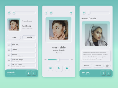 Neumorphic Music App design style frame songs list minimal ui design shadows music app design app design application app playlist music music player music app ariana grande neumorphism neumorphism ui neumorphic design neumorphic