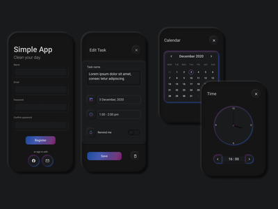 Simple App gradients todolist button design input box black  white simple clean interface neumorphic design minimal app design dark app registration clock calendar list simple design dark mode dark ui flatdesign neumorphic task list