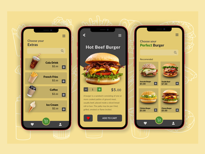 Order Food Design fastfood food foodie design burger menu choosing simple design clear ui yellow navigate icons add create order ordering app order food delivery app delivery burgers food and drink food app